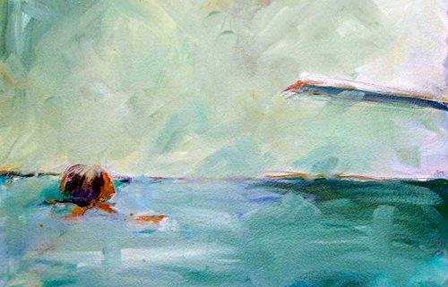 Feeling at Home LEINWANDDRUCKE-Bild-MIT-Rahmen.cm_57_X_91-Hoffman-Kate-Natur-Kunstdruck-auf-Gerahmte-Leinwand-Swimming-Pool-Sprungbrett-Wass