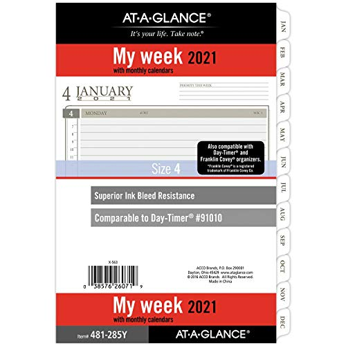 """2021 Weekly & Monthly Planner Refill by AT-A-GLANCE, 91010 DAY-TIMER, 5-1/2"""" x 8-1/2"""", Size 4 (481-285Y-21)"""