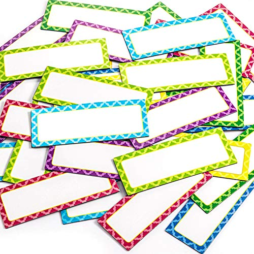 40 Stücke Magnetisch Trocken Löschen Etiketten Namensschild Etiketten Beschreibbare Magnetisch Namensschilder Klebeetiketten und Aufkleber für Whiteboards Kühlschrank, 8 Farben (3 x 1,2 Zoll)