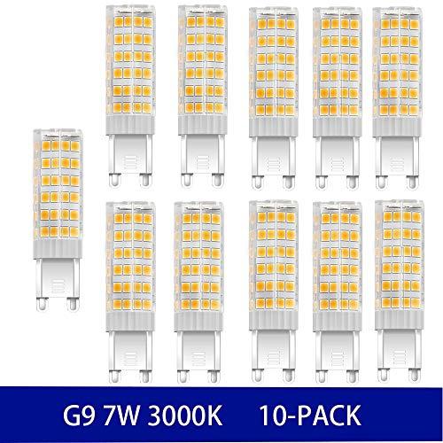 NUOXIN Confezione da 10 Lampadine LED G9 7 Watt, 700 Lumen (Equivalente alla lampadina alogena G9 70w) G9 7W Bianca Calda 3000K AC 220-240V Non Dimmerabile