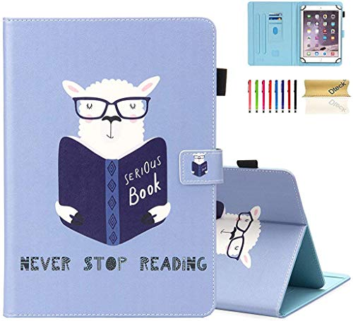 Dteck Universal Stand Wallet Case for Samsung Galaxy/Onn/Lenovo/Dragon Touch/Vankyo MatrixPad/LG G Pad/Huawei MediaPad/Android Tablet 9.6 9.7 10 10.1 10.2 10.3 10.4 10.5 Inch, Sheep Reading