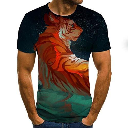 chuyue T-Shirt 3D-Druck Double Lion Herren Casual Cool T-Shirts Herren Kurzarm Sommer Tops T-Shirts T-Shirt Mode-L