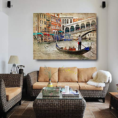 baodanla Nessuna Cornice nel Soggiorno con Olio su Tela HD Vernice Spray Bellissimo Paesaggio di Venezia Poster da Parete casa Moderna art50x70cm