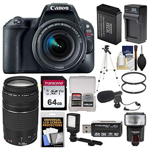 Canon EOS Rebel SL2 Wi-Fi Digital SLR Camera & 18-55mm is STM (Black) + 75-300mm Lens + 64GB Card + Flash + Video Light + Battery/Charger + Tripod Kit
