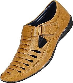 Emosis Men's Outdoor Formal Casual Ethnic Loafer Slip-On Sandal Shoe (Size: 8 UK, Color: Tan)