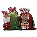 クリスマスプレゼント 人気 ギフトバッグ キャンディークッキーバッグ ホリデーギフトバッグ サンタクロース雪だるまのアイデアギフト袋 テキスタイルギフトバッグ お菓子バッグ 誕生日プレゼント 巾着袋 【2個セット】