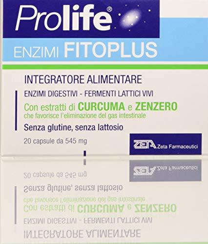 Prolife Enzimi Fitoplus Probiotici Curcuma Zenzero Contro Gonfiore Addominale, 20 capsule da 545 mg