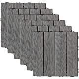 Ecoopts 20'x20'x6' Deck Tiles Wood Patio Pavers Flooring Interlocking Composite Tile for Indoor Outdoor Decking 6 Slat 1 Pack Grey