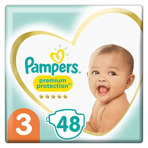 Pampers Premium Protection - Pañales (talla 3, 48 pañales)