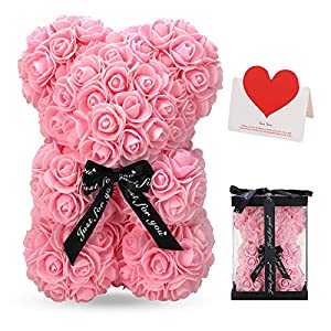 LINKLO Rose Bear Rose Teddy Bear -10 inch Artificial Rose Flower Bear, Gift for Valentines Day, Wedding, Mothers Day and Anniversary, Including Transparent Gift Box (Pink)