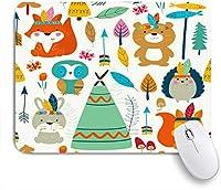 KAPANOUマウスパッド フクロウかわいいツリーフォレストウッドランド部族キノコ動物野生動物キツネ ゲーミング オフィ良い 滑り止めゴム底 ゲーミングなど適用 マウス 用ノートブックコンピュータマウスマット
