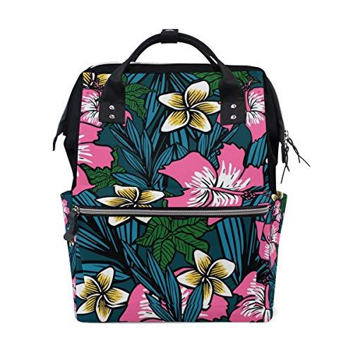 ALINLO - Bolsa de pañales de flores polinesias para momia, gran capacidad, multifunción, mochila para viajes
