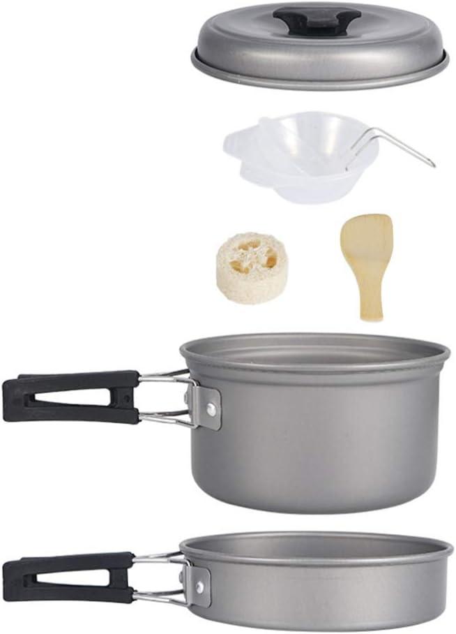 BESPORTBLE 1 Set Popular brand Camping Mess 5 popular Aluminium Kit Picnic Portable Pot