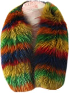 Gegefur Women's Real raccoon Fox Fur Winter Collar Scarves Scarf Warmer