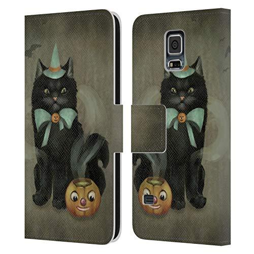Head Case Designs Ufficiale Ash Evans Birra Affascinante Gatti Neri 2 Cover in Pelle a Portafoglio Compatibile con Samsung Galaxy S5 / S5 Neo