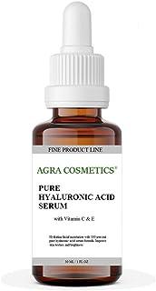 AGRA Cosmetics®, Hyaluronic Acid Serum for Skin 100% Pure-Highest Quality, Anti-Aging Serum Intense Hydration + Moisture, ...