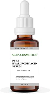 AGRA Cosmetics®, Hyaluronic Acid Serum for Skin 100% Pure-Highest Quality, Anti-Aging Serum Intense Hydration + Moisture, Non-Greasy, Paraben-Free with Vitamin C & E, 1 fl. oz.