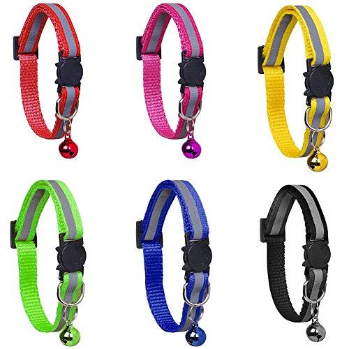 N/U 6 collares de gato, collares reflectantes con campanas y hebilla de liberación rápida de seguridad, ancho ajustable, adecuado para gatos de mascotas, seis 1521992