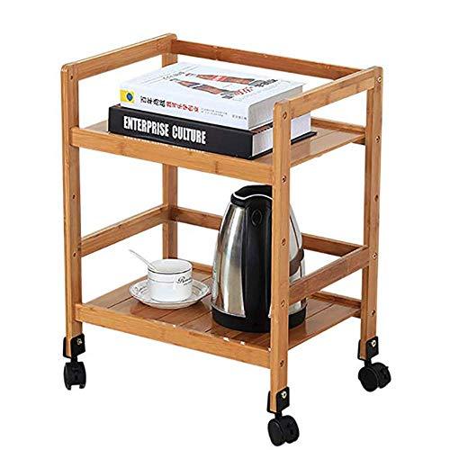 HIGHKAS 2-stufiger Küchen-Servierwagen mit Rädern Lagerregal aus Bambusholz, mit Handlauf Weinwagen, Teewagen, Schichthöhe verstellbar (in verschiedenen Größen erhältlich)