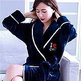 Batas de Mujer Invierno cálido Coral Polar camisón Ropa de Dormir Pijamas Femeninos Ropa de casa Vestido Floral Gron Kimono Hotel Albornoz-navy-3-XL(170cm)
