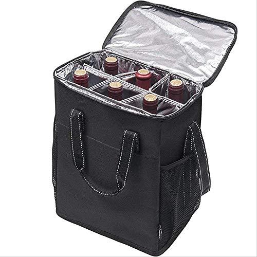 DUDDP Bolsa Térmica Envase del almuerzo de picnic almacenamiento Carrier 6 botellas de vino bolsa de hielo al aire libre excursión refrigerado paquete de hielo del aislamiento bolsa blanda portátil gr