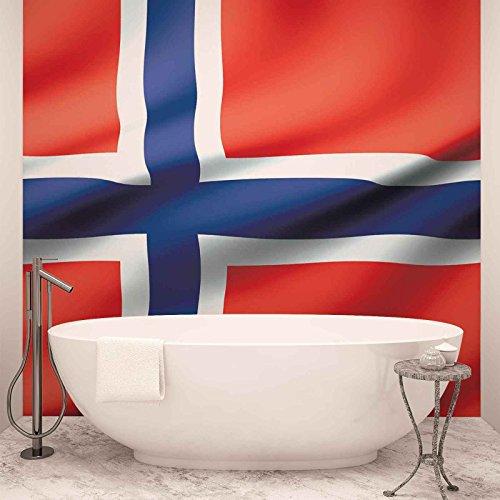 Flagge Norwegen - Forwall - Fototapete - Tapete - Fotomural - Mural Wandbild - (490WM) - XL - 254cm x 184cm - Papier (KEIN VLIES) - 2 Pieces
