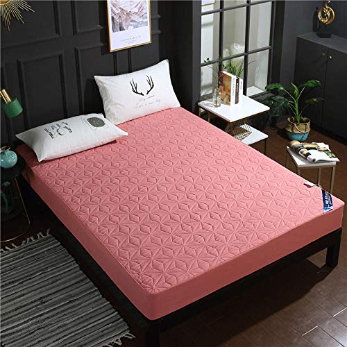 lhmlyl Mattress Protectorthickened Solid Color Quilted Waterproof Bed Sheet Single Piece Breathable And Washable Surrounded By Cotton Protective Cover-Light Bean Paste_150*200