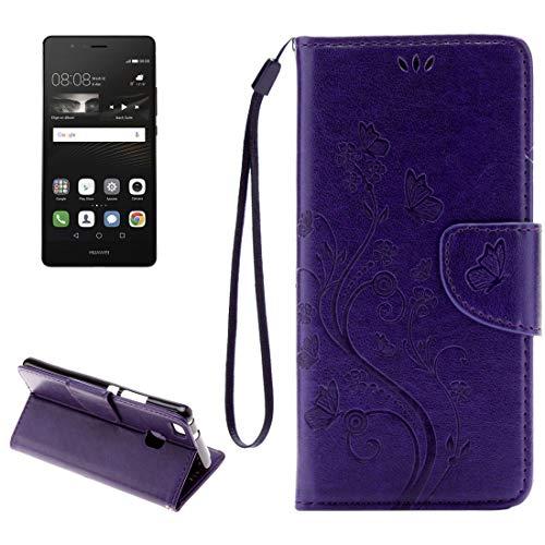 ZAORUN Cubiertas Protectoras para celulares Funda de Cuero de Flip horiozntal de Mariposas de relieves con Soporte, Ranura de Tarjetas, Billetera y cordónpara Huawei P9 Lite (Color : Púrpura)