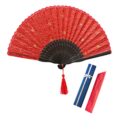 GAOU Handheld Fan Kant Ventilator Dubbele Dek n Vintage Bamboe Folding Fans Chinese Japanse Stijl Fan Dancer Wedding Party Fan