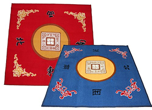 """We pay your sales tax 31.5"""" Table Cover - Slip Resistant Mahjong Game / Poker / Dominos / Card Tablecovers Table Top Mats - Red + Blue ( 2 Packs)"""