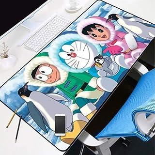 DMWSD Cojín de ratón de escritorio del cojín del juego de caracteres del animado Doraemon gato del robot Nobita Nobi Minamoto Shizuka aventura de gran tamaño antideslizante Profesional de ratón del ju