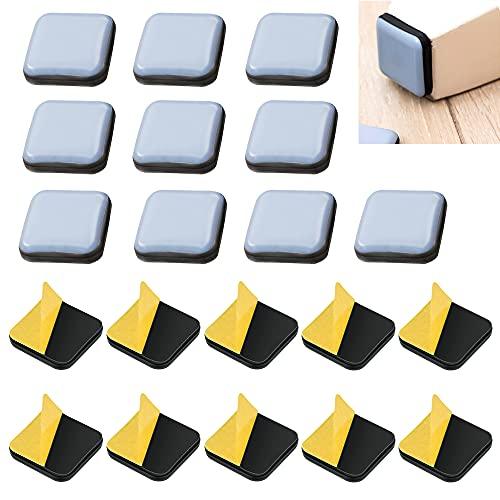 JUNMIEDO 20 PCS Möbelgleiter Teflon Selbstklebend Teflongleiter 25mmTeppichgleiter Teflon Quadrat Stuhlgleiter Kleben für Stühle Möbel Bodenschützer