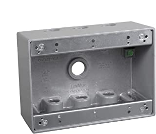 TayMac TB750S 3-Gang Weatherproof Box with Seven 1/2 in. Outlets, Gray,
