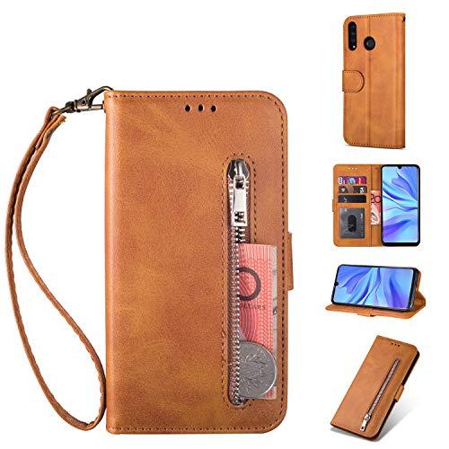 ZTOFERA Huawei P30 Lite Hülle, Magnetisch Folio Flip Wallet Leder Standfunktion Reißverschluss schutzhülle mit Trageschlaufe, Brieftasche Hülle für Huawei P30 Lite - Braun