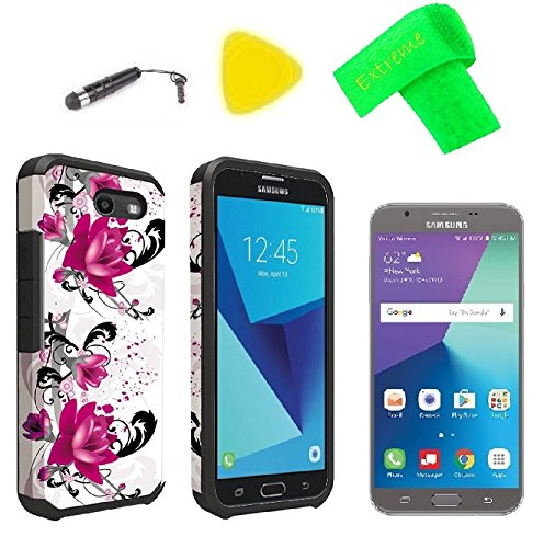 Slim Hybrid Cover + Screen Protector + Extreme Band + Stylus Pen + Pry Tool For Samsung Galaxy Halo Sky Pro J7V J7 V 2017 J7 Perx SM-J727R4 SM-J727A SM-J727V SM-J727P (Slim Hybrid Magenta Flower)