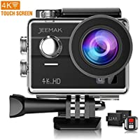 Jeemak 4K WiFi Action Camera 16MP Waterproof Camcorder with Remote Control