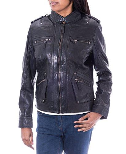 A to Z Leather Damen schwarz aus weichem Leder Schlank Modisch Kill BillStil Motorradjacke
