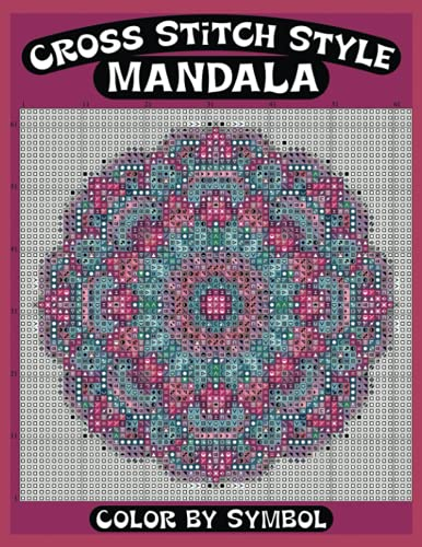 Cross Stitch Style Mandala Color by Symbol: Mystery Mosaics Color by Number Jumbo Mosaic Use Color To Reveal Secret Images numeric Activity Coloring ... Unique colouring Pages | Cross Stitch Designs