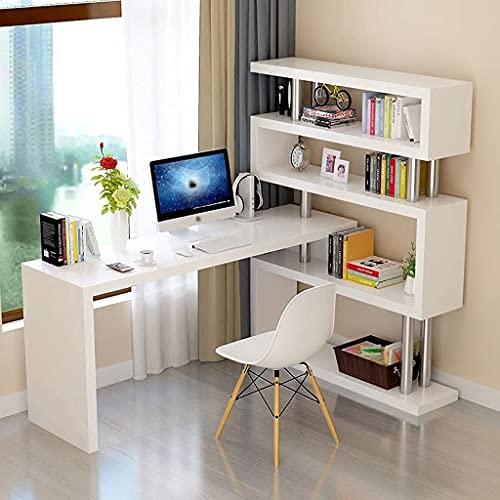 QTWW Best narożny stół komputerowy biurko nauka stół stół stół stół komputer biurko W/4 otwarty regał na książki, obracany o 180° kąt biurka, materiały przyjazne dla środowiska, 2 rozmiary