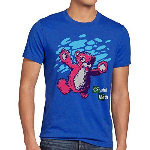 style3 Meth Bär T-Shirt Herren Nevermind White Crystal Breaking Walter tv Serie, Größe:XL, Farbe:Blau