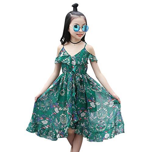 Arystk Girls Dress Kids Teen Children Floral Ruffles Off Shoulder Bohemia Beach Dress Clothes Green