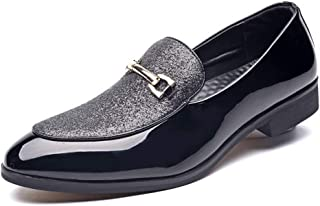 Men's Fashion Business Casual Leather Shoes Printed Pointed-Toe Loafer Shoes Size 6-10