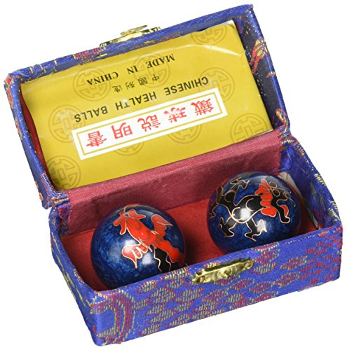 fengshuisale Feng Shui Chinese Health Balls (Blue with Phoenix and Dragon) 3.8cm/1.5' Red String Bracelet F1117 (3.8cm)