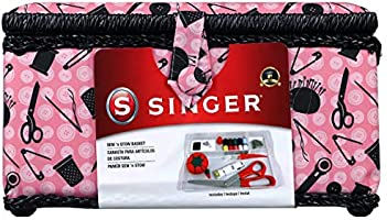 SINGER 07276 Sewing Basket with Sewing Kit Accessories, Pink & Black