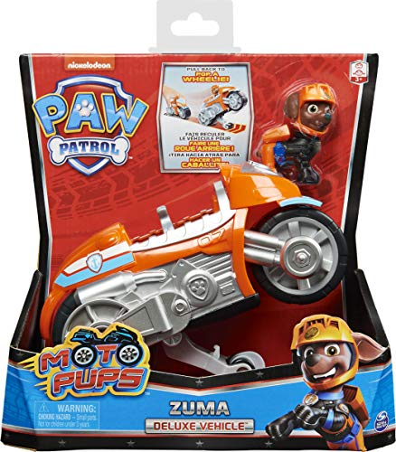 PAW PATROL Moto Pups Zuma's Deluxe Pull Back Motorcycle Vehicle with Wheelie Feature and Figure Patrulla Canina Zuma…