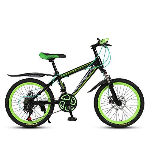 JiAODIE - Bicicleta de montaña para niños de 20 pulgadas con asiento ajustable, freno de disco doble