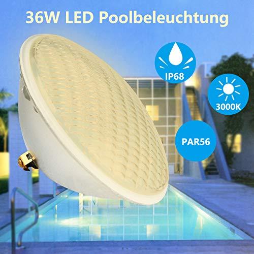 KWODE LED Poolbeleuchtung, 36W PAR56 Scheinwerfer Unterwasser LED Beleuchtung,IP68 Wasserdicht Poolscheinwerfer 12V LED-Poolleuchten 3000K Warmweiß weiß Pool Light