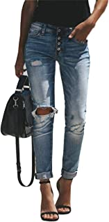 Grimgrow Skinny Jeans for Women, Totally Shaping Butt Lift Ripped Denim Pants Light Blue Size 6