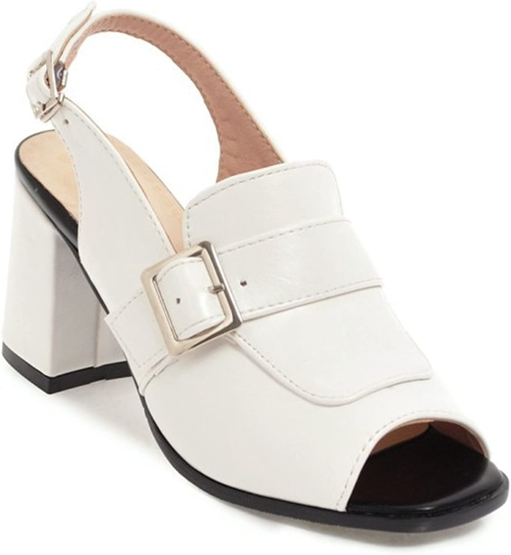 Women's Roman shoes Heeled Sandals Block Wedges Summer Dress shoes Peep Toe Ankle Buckle Design