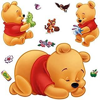 Wall Sticker Decal Sleeping Winnie The Pooh for Kids Bedroom Nursery Daycare and Kindergarten Mural Home Decor DIY Self Adhesive Removable